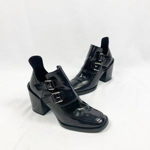 Zara Black Patent Leather Buckle CutOut Ankle Boot
